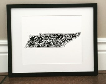 """Tennessee Map Art Print - Signed 8.5"""" x 11"""" print of original hand drawn map including Tennessee landmarks, culture, symbols, and cities"""