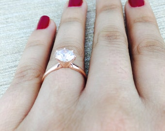 1.50 CT Round Solitaire Engagement Wedding Ring in Solid 14k Rose Gold, Solitaire Engagement Ring