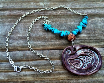 Pottery Paisley Pendant Necklace