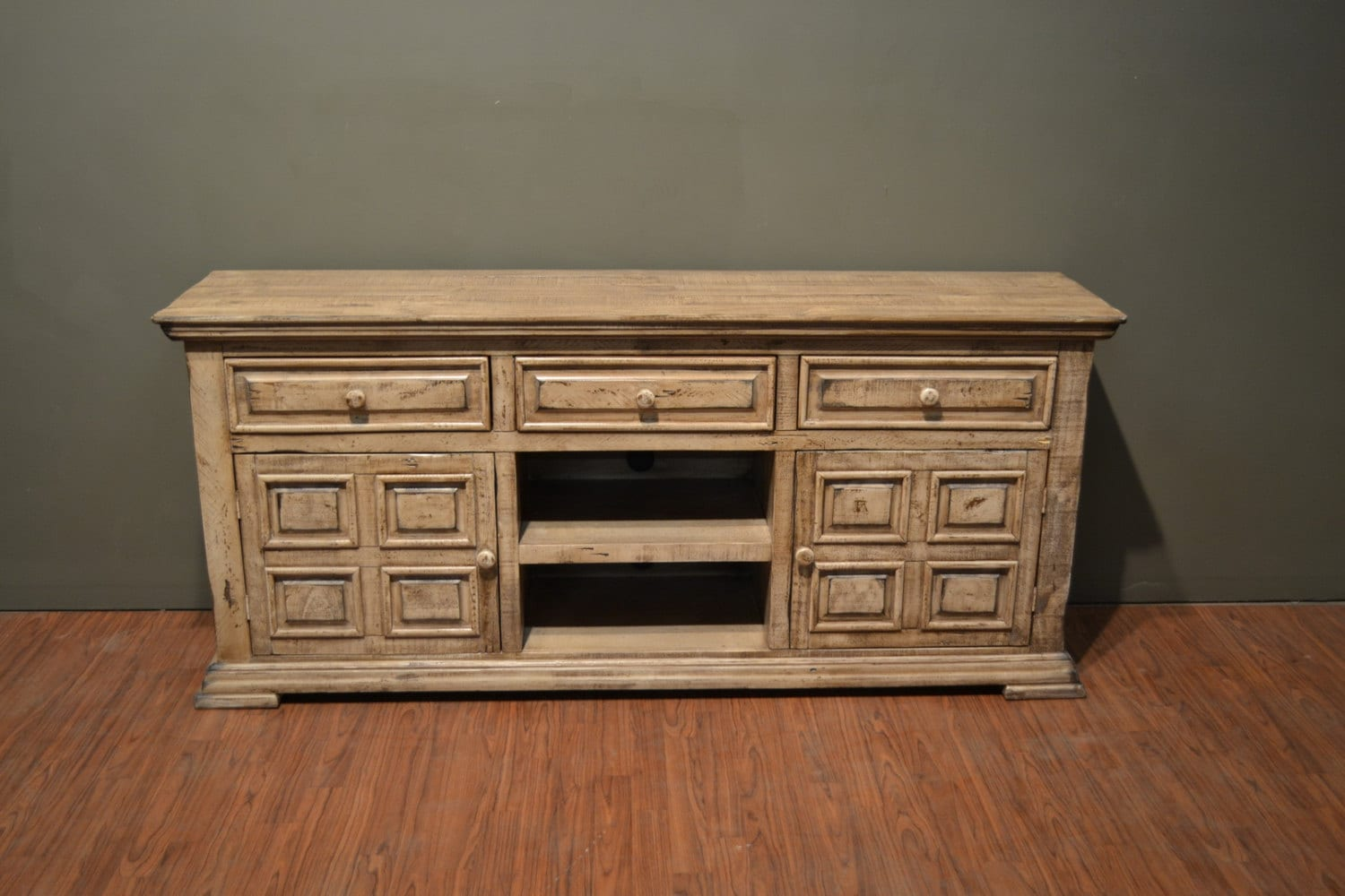 Rustic solid wood inch wide tv stand media console