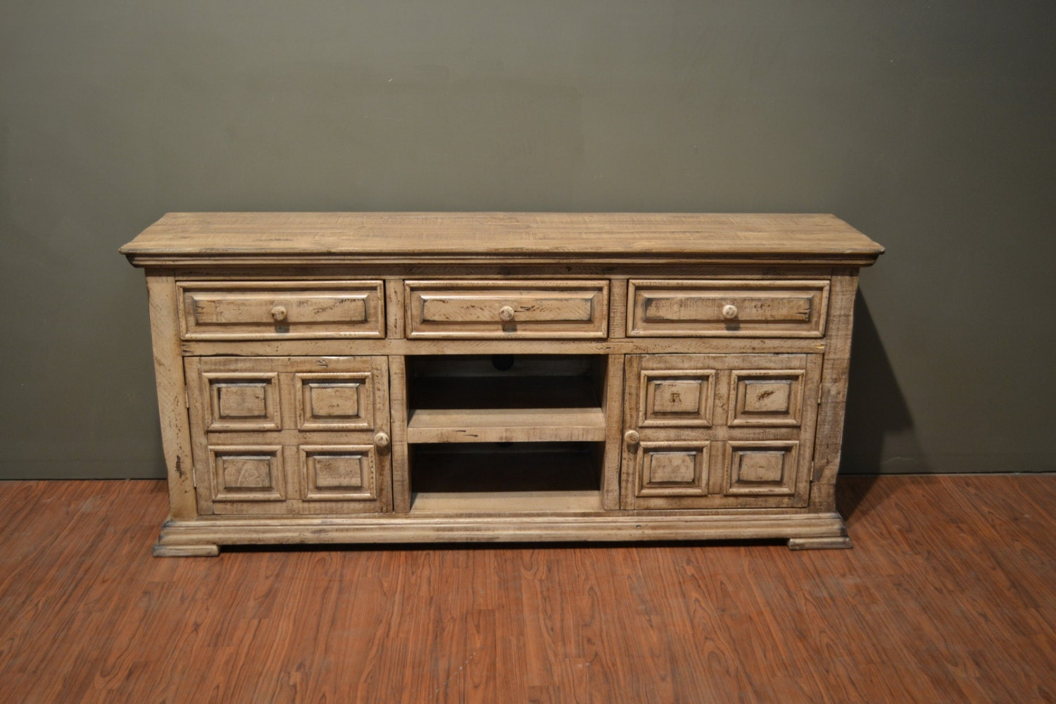 rustic solid wood 72 inch wide tv stand media console. Black Bedroom Furniture Sets. Home Design Ideas