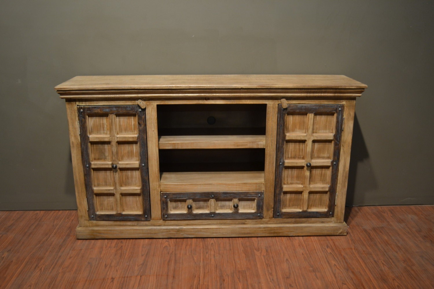 Rustic Solid Reclaimed Wood Media Console Tv Stand