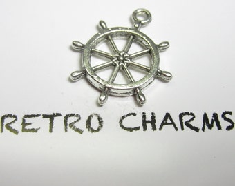 Sterling Silver Ship's Helm Retro Charm
