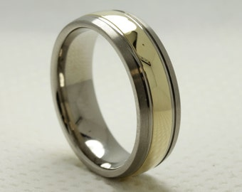 titanium and 14ct yellow gold gents wedding band ring size r
