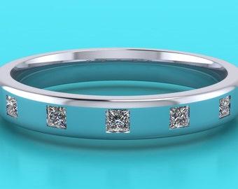Platinum princess cut  wedding  ring / 2.5mm wedding band /  princess cut eternity / hatton garden / diamond eternity hatton garden london