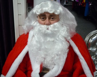 Father Christmas Wig + Beard , Wavy White