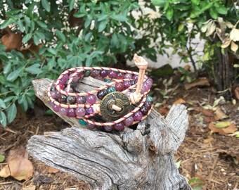 Three wrap 6 mm Fancy Jasper wrap bracelet on tan leather cord