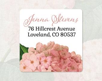 personalized return address label - PINK HYDRANGEA FLOWER - square label - address sticker - set of 48