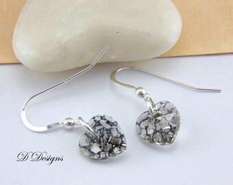 Heart Earrings, Crystal Earrings, Sterling Silver Earrings, Swarovski Black Patina Earrings, Gifts for her. Valentines Day Gifts