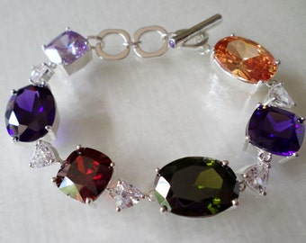 Signed Silver Tone and Gemstones Multicolored Link Bracelet.