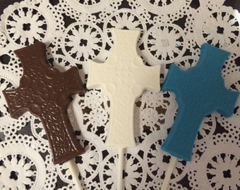 CROSS CHOCOLATE Lollipop (12 qty) Confirmation/Baptism/First Holy Communion/Christening/Easter Sunday/Palm Sunday/New Baby/Advent Calendar