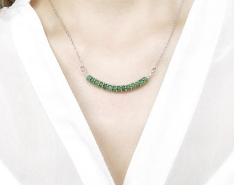 Emerald Green Necklace, Aventurine Bar Necklace, 925 Sterling Silver, Minimalist Jewelry, Dainty Everyday Jewellery, Green Necklace