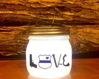 Police LOVE LED light. Custom Police Officer mason jar, Law Enforcement night light, personalized Police Officer Gift, Police light