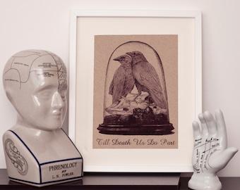 Taxidermy 'Till death us do part' - A4 art print