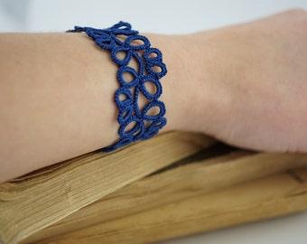 Deep blue tatted bracelet