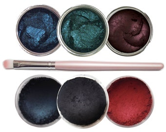 Ultimo Minerals THE SINISTERS Pigments Eye Shimmer Shadow Liner Kit + Brush - Chemical Free - Gluten Free - Free Shipping!