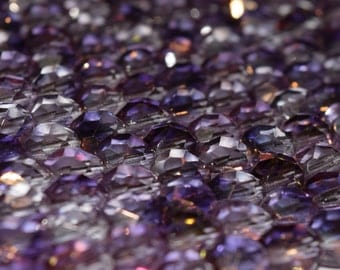 8mm Czech Glass Crystal Purple Round Beads, Fire Polished Beads Strung, 25 pieces