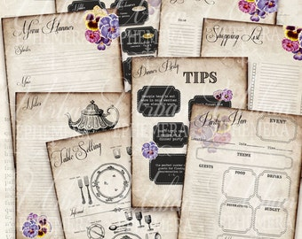 Dinner party planner. Vintage. Printable Recipe file folders. Invitation. Place Cards