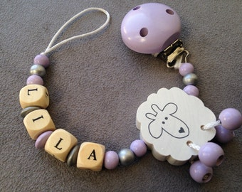 Pacifier clip - lollipop unattached pattern sheep, personalized with name Lila wooden beads