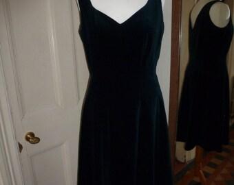 Vintage Monsoon Twilight velvet dark teal below the knee dress, size 14.  50's, Mad Men