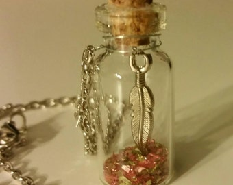 Tiny Bottle Necklace, filled with glitter and feather charm