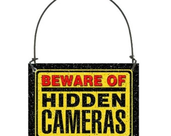 "Beware of Hidden Cameras mini sign 2-1/2"" x 3-3/8"", Small Doorknob sized sign, Gag sign, Funny sign ornament, Joke sign, humor sign ironic"