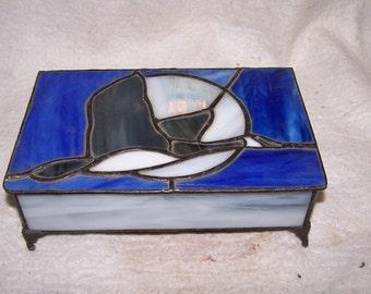 Canada Goose Stained glass jewelry box, keepsake box, treasure box