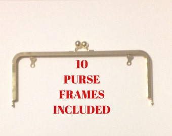 """10- 10""""x4"""" Ball Clasp Purse Frames SHINY GOLDTONE with Chain Loops"""
