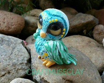 Colorful Owl Polymer clay figure//gifts for her//turquoise //nature