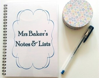 Personalised Teacher's Notes & Lists Book - end of year gift, bespoke notebook A5