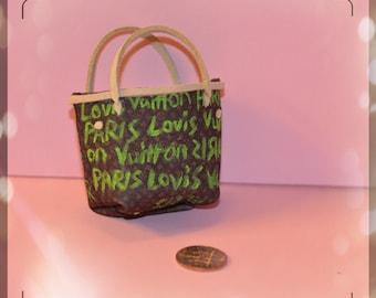1:6 miniature Louis Vuitton handbag (green) / barbie purse/ barbie handbag/ minuature purses