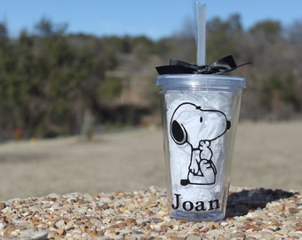 Personalized snoopy clear 16 oz. tumbler