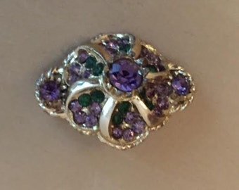 Vintage Brooch Green and Purple Stone Design