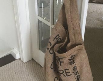 Burlap coffee sack market bag