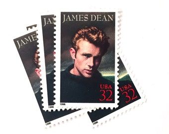 5 x James Dean UNused 32 cents US Postage Stamps - Movie Stars - Legends of Hollywood - for invites, mailing, crafting, card making