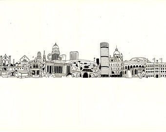 Leeds city skyline illustration - print
