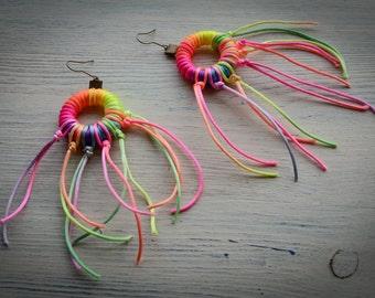 Bright Earrings // Illuminated earrings / Black Light earrings / Festival earrings / Glowing earrings / Rave earrings / Light earrings