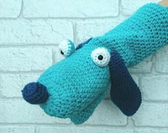 Crochet Dog Hand Puppet - handmade