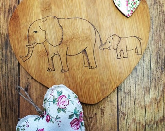 Elephant heart board, animal chopping board, elephant gift, new home gift, chef gift, housewarming gift, personalised kitchen, heart shaped