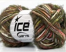 ICE Yarns Zinnia Orange Lilac Khaki Green Brown one skein