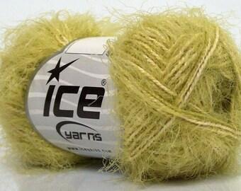 ICE Yarns Eyelash Blend Green Cream one skein