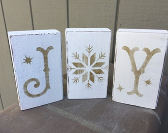 Customized Christmas winter stenciled JOY blocks, you choose color, silver or gold, rustic decor, christmas decoration, winter decor
