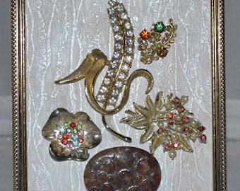 Jewelry Art - Vintage Flower Brooches Repurposed