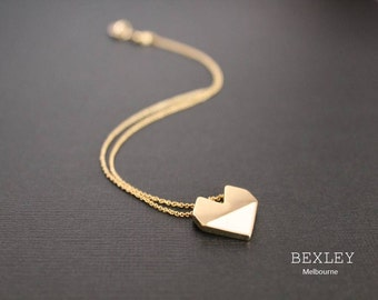 White & Gold Geometric Love heart pendant