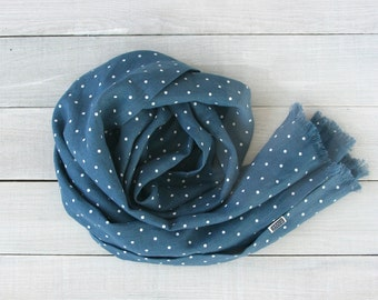 Softened linen scarf. Long. Blue with dots. Linen scarves for women. Blue linen scarves. Navy linen scarves. Stone washed. Long linen scarf.