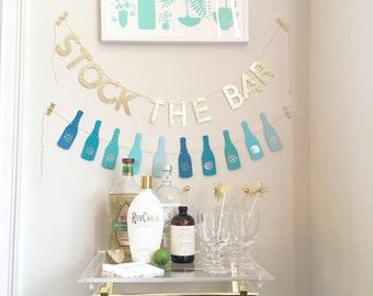 Stock the Bar Gold Glitter Banner