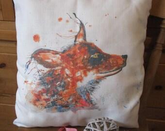 SALE Fox cushion, 16 x 16 pillow cover, cushion cover, fox gift, fox pillow, fox, home decor, fox pillow cover, Christmas gift