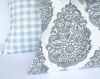 Set of two- throw pillows, accent pillows, decorative throw pillow covers, blue and white pillows, blue and white pillow covers