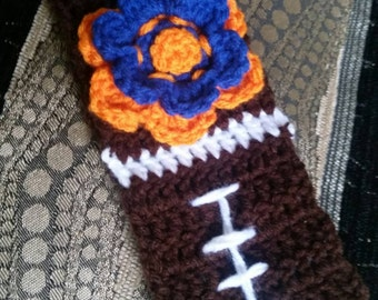 Football headband with team colored stacked flower