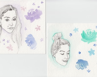 Customizable Pen and Flowers Portraits